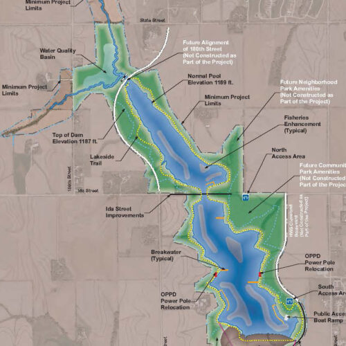 Graphic Site Map: Papio Watershed Dam Site 15A